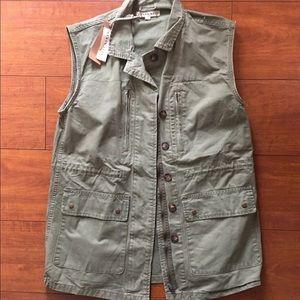 Boutique Olive Green Utility Vest Size L